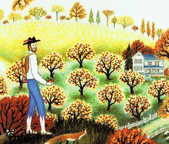 celebrate-picture-books-picture-book-review-johnny-appleseed-kathy-jakobsen-in-an-apple-orchard