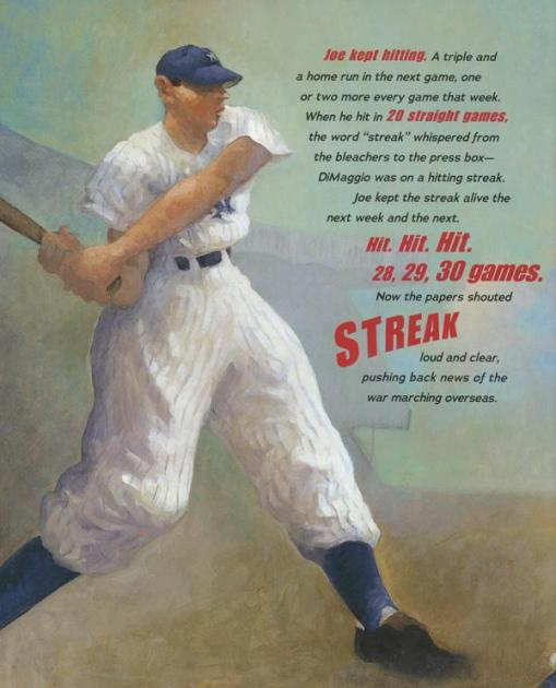 celebrate-picture-books-picture-book-review-the-streak-how-joe-dimaggio-became-america's-hero-joe-hitting