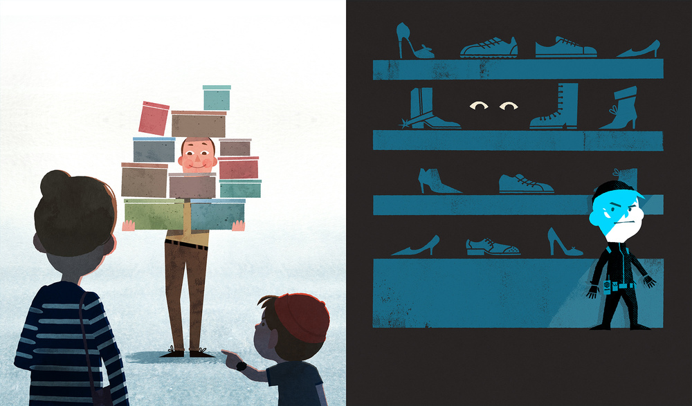 celebrate-picture-books-picture-book-review-secret-agent-man-goes-shopping-for-shoes-shoe-store-man