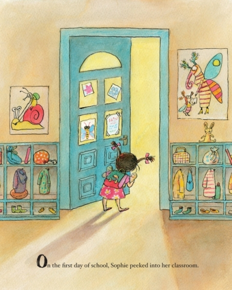 celebrate-picture-books-picture-book-review-sophie's-squash-go-to-school-peeking-in-classroom-door