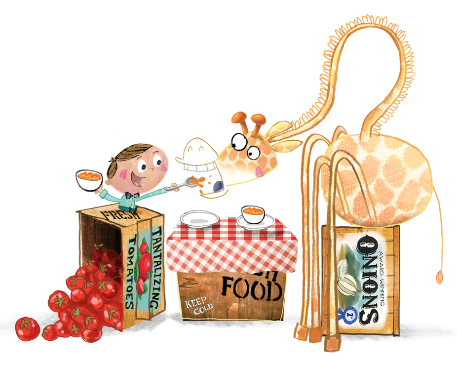 celebrate-picture-books-picture-book-review-there's-a-giraffe-in-my-soup-waiter-feeding-giraffe