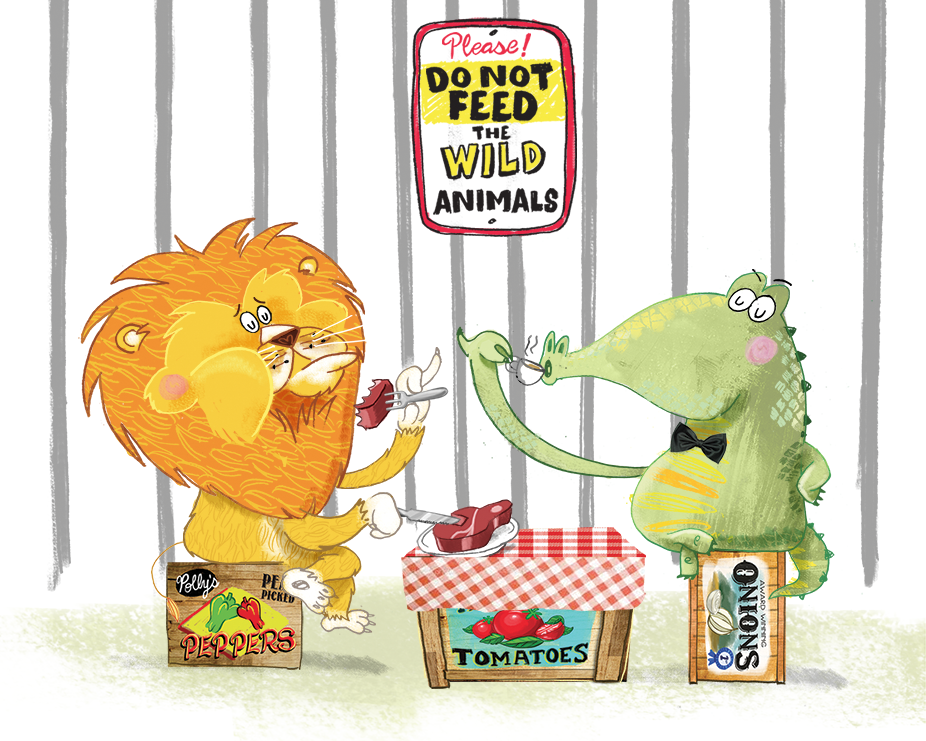 celebrate-picture-books-picture-book-review-there's-a-giraffe-in-my-soup-lion-and-alligator-eating