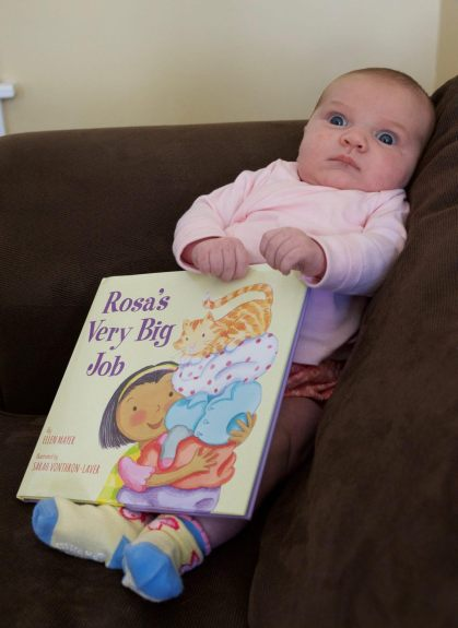 celebrate-picture-books-picture-book-review-interview-with-Ellen-Mayer-granddaughter-holding-book