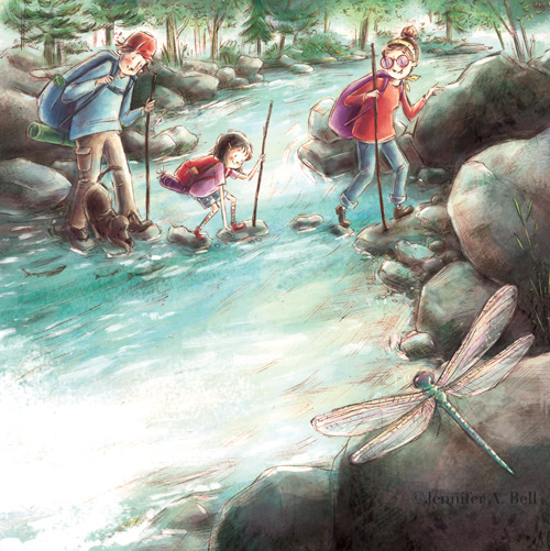 celebrate-picture-books-picture-book-review-rhoda's-rock-hunt-crossing stream