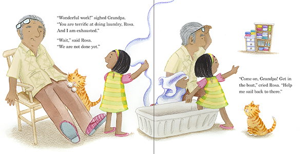 celebrate-picture-books-picture-book-review-rosa's-very-big-job-rosa-uses-basket-as-boat