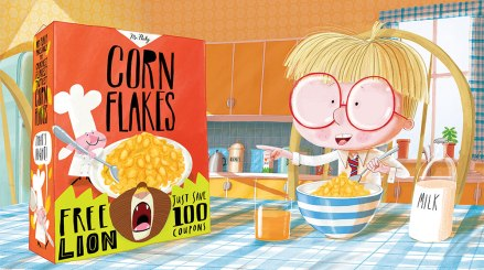 celebrate-picture-books-picture-book-review-there's-a-lion-in-my-cornflakes-contest