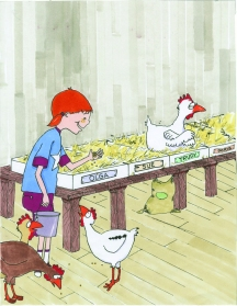 celebrate-picture-books-picture-book-review-what's-up-with-this-chicken-Sylvia-feeding-chickens