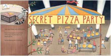 celebrate-picture-books-picture-book-review-secret-pizza-party-party-outside-raccoon's-tree