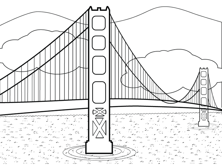 golden gate coloring pages - photo#9