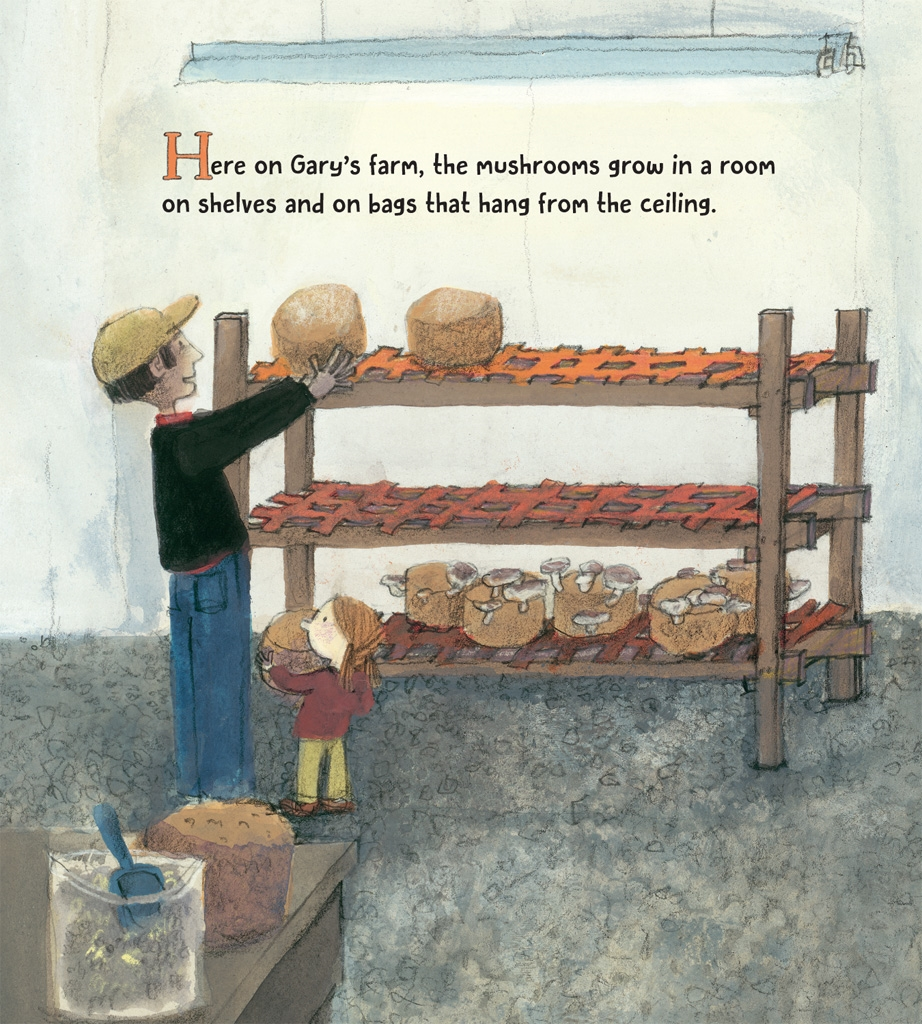 celebrate-picture-books-picture-book-review-on-the-farm-at-the-market-mushroom-farm