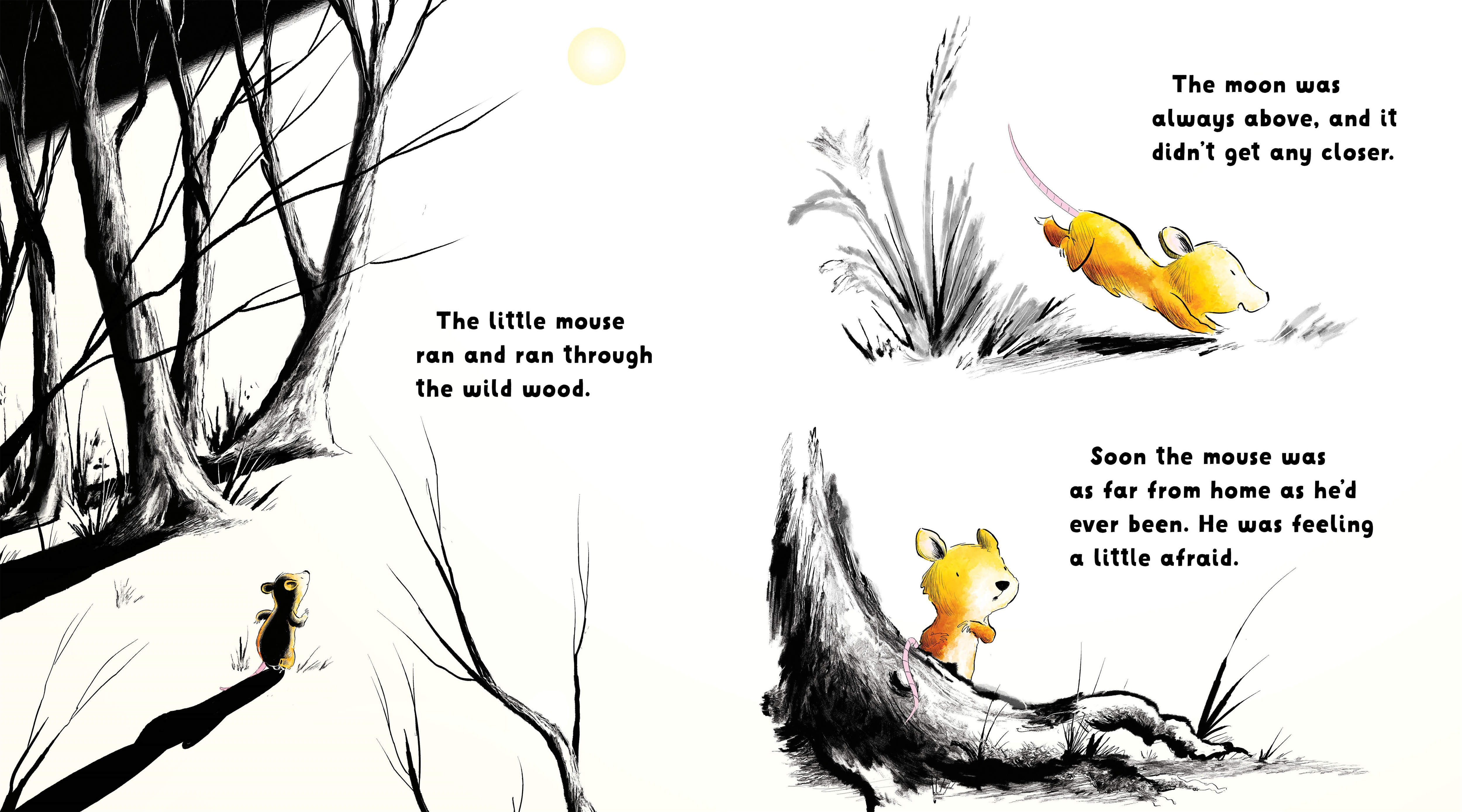 celebrate-picture-books-picture-book-review-the-mouse-and-the moon-mouse-runs-through-woods