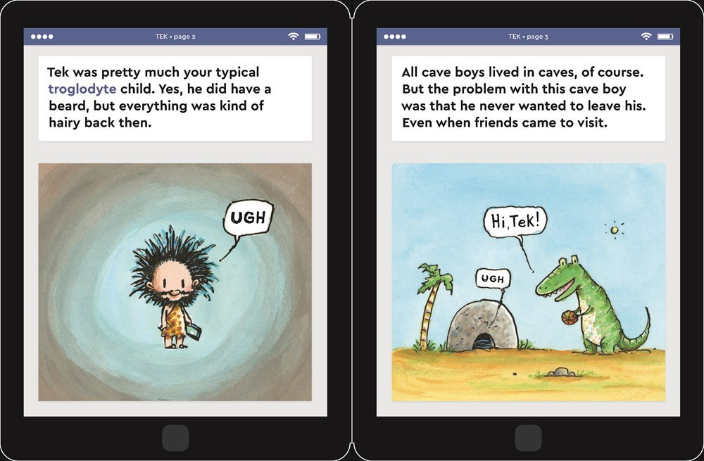 celebrate-picture-books-picture-book-review-tek-the-modern-cave-boy-troglodyte