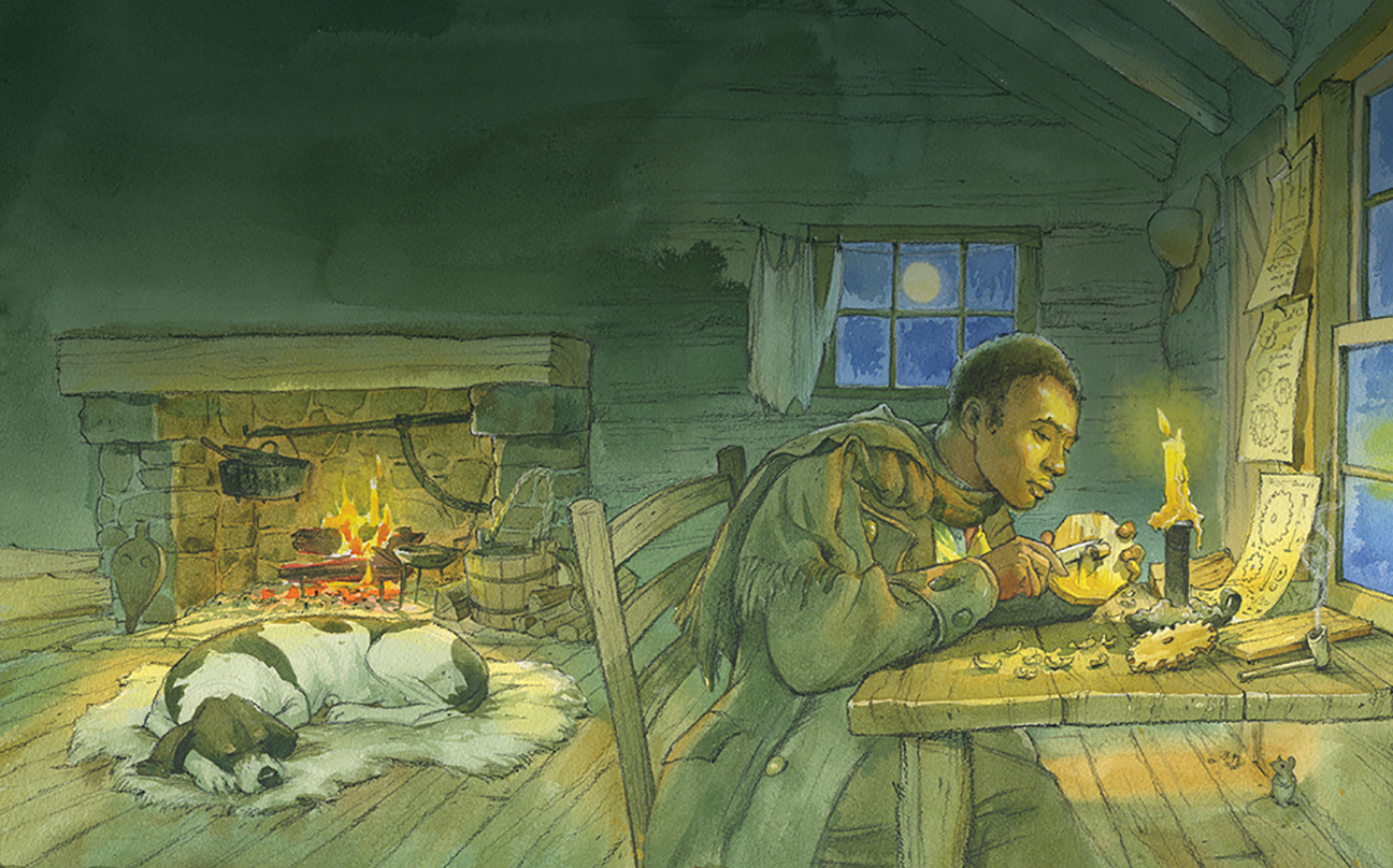celebrate-picture-books-picture-book-review-ticktock-banneker's-clock-carving