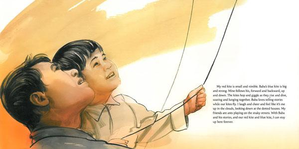 celebrate-picture-books-picture-book-review-red-kite-blue-kite-Tai-Shan-and-Baba-fly-kites