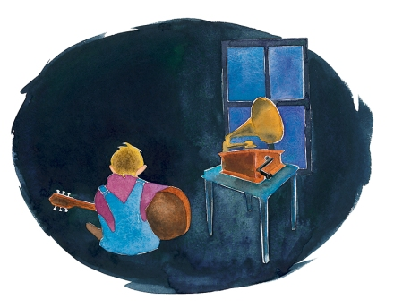 celebrate-picture-books-picture-book-review-talkin-guitar-listening-to-victrola