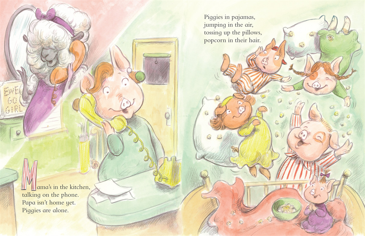 celebrate-picture-books-picture-book-review-piggies-in-pajamas-mom-on-phone