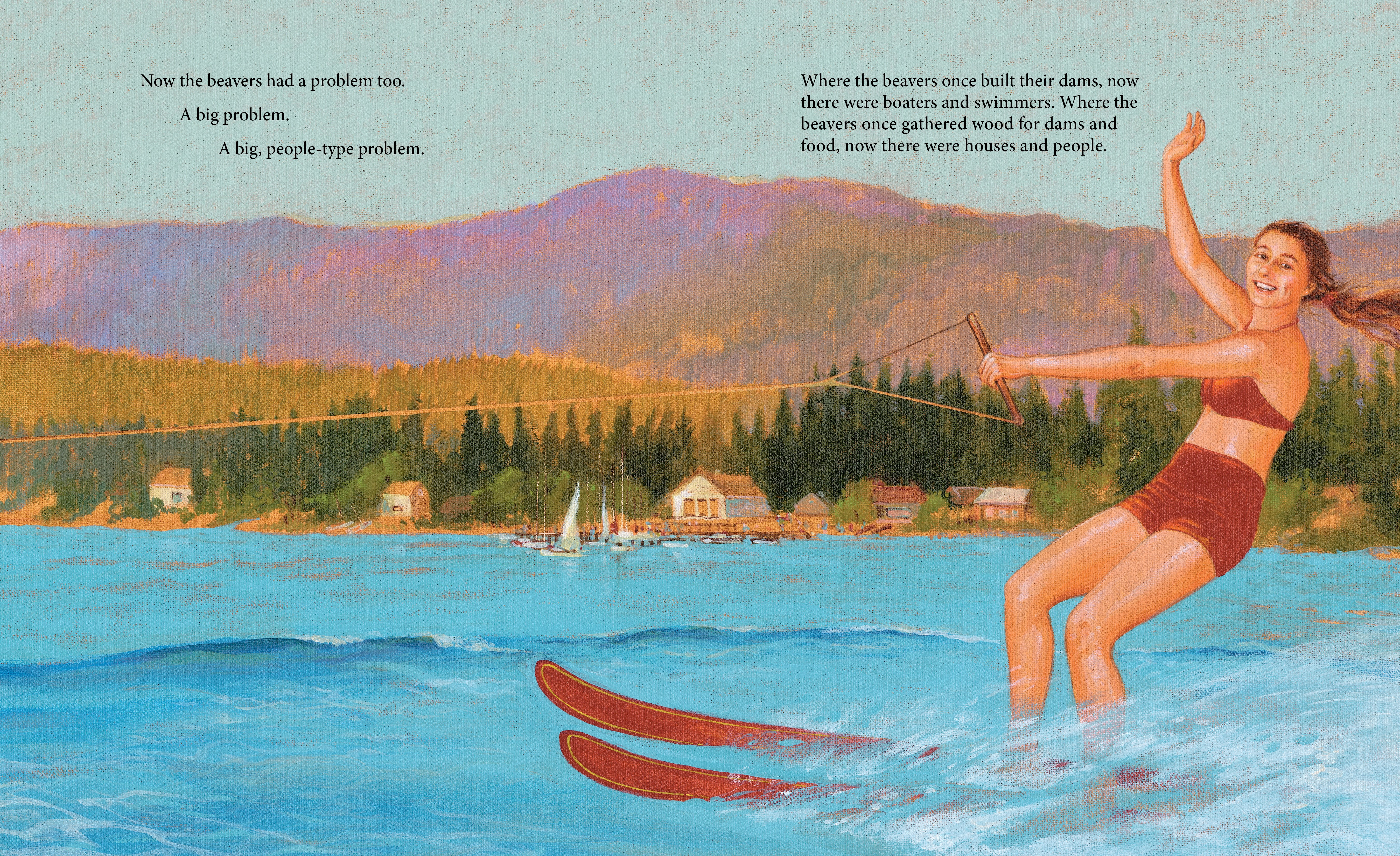 celebrate-picture-books-picture-book-review-the-skydiving-beavers-a-true-tale-water-skiing