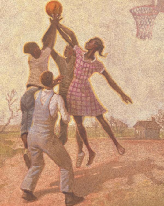 celebrate-picture-books-picture-book-review-Queen-of-the-Track-playing-basketball