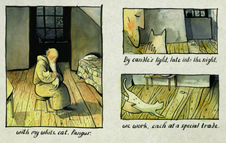 celebrate-picture-books-picture-book-review-the-white-cat-and-the-monk-candle-light