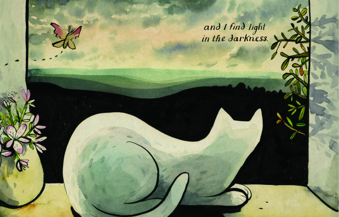 celebrate-picture-books-picture-book-review-the-white-cat-and-the-monk-in-window