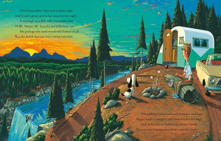 celebrate-picture-books-picture-book-review-a-camping-spree-with-mr-magee-sunset