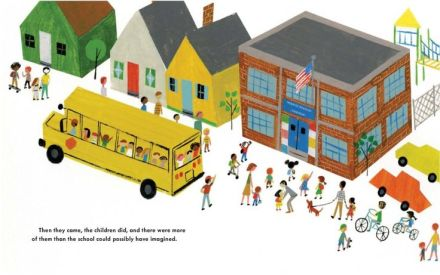celebrate-picture-books-picture-book-review-school's-first-day-of-school-kids-arriving