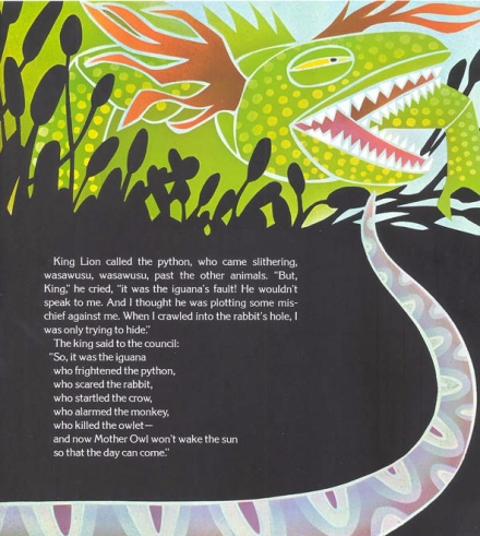 celebrate-picture-books-picture-book-review-why-mosquitoes-buzz-in-people's-ears-iguana's-story