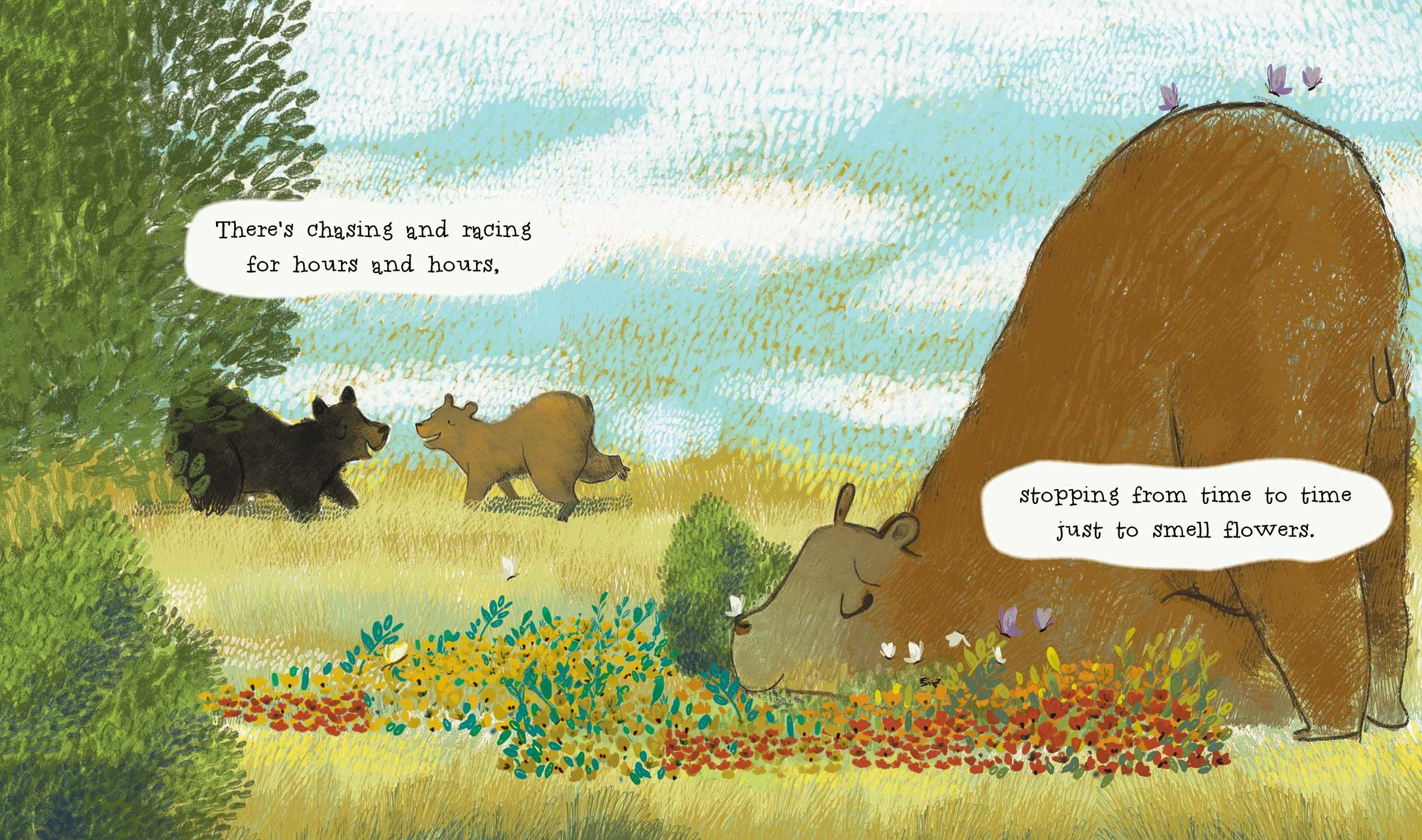 celebrate-picture-books-picture-book-review-the-curious-cares-of-bears-smelling flowers