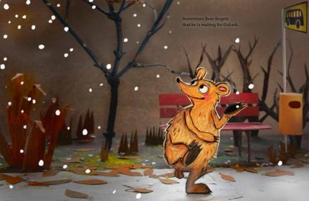 celebrate-picture-books-picture-book-review-Waiting-for-Goliath-dancing-in-snow