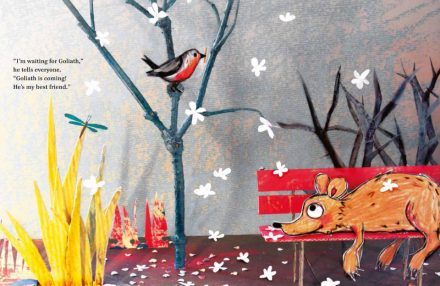 celebrate-picture-books-picture-book-review-Waiting-for-Goliath-robin-building-nest