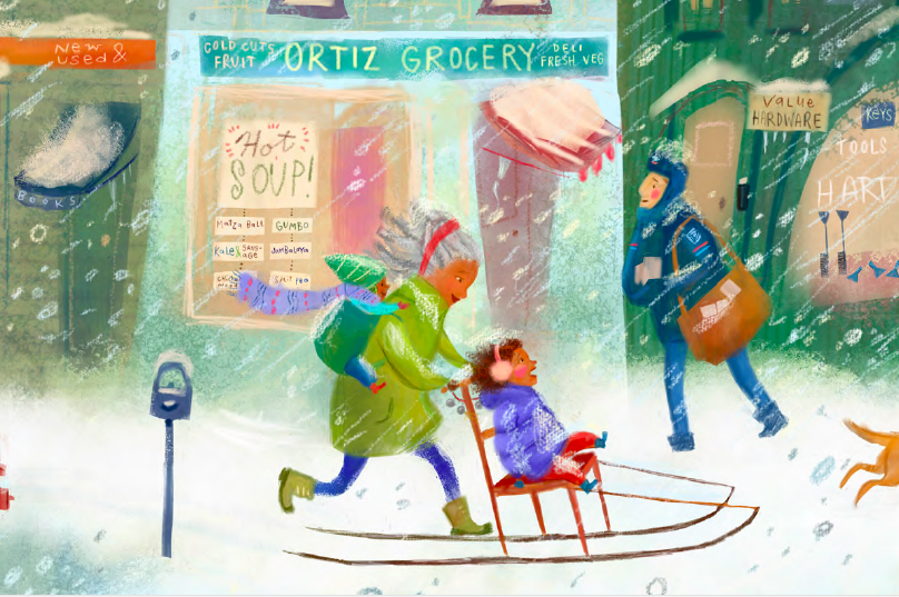 celebrate-picture-books-picture-book-review-when-the-snow-falls-sledding-with-grandma