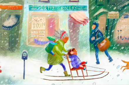 celebrate-picture-books-picture-book-review-when-the-snow-falls-sledding-with-grandma