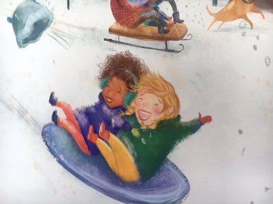 celebrate-picture-books-picture-book-review-when-the-snow-falls-sledding