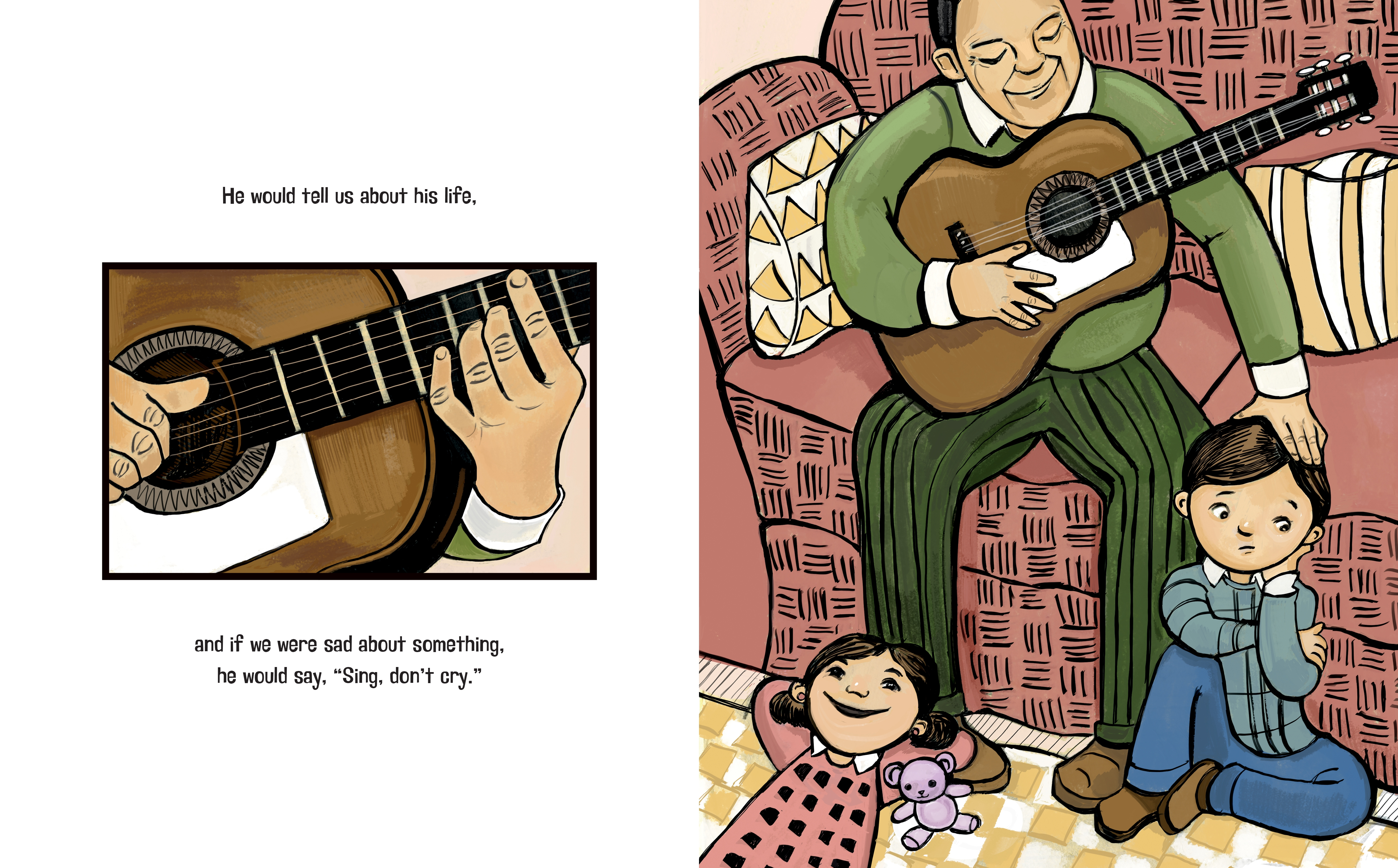celebrate-picture-books-picture-book-review-sing-don't-cry-playing-guitar