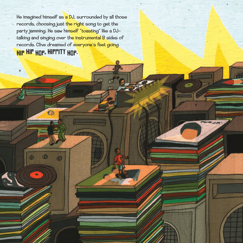celebrate-picture-books-picture-book-review-when-the-beat-was-born-stacks-of-records