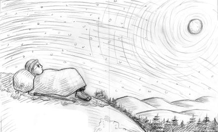 celebrate-picture-books-picture-book-review-grandma-gatewood-hikes-the-appalachian-trail-night-scene-sketch