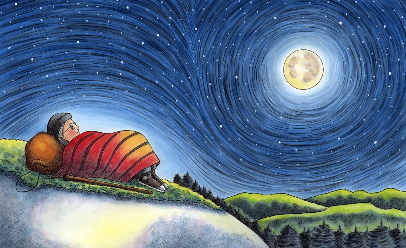 celebrate-picture-books-picture-book-review-grandma-gatewood-hikes-the-appalachian-trail-night-scene