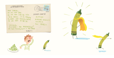 celebrate-picture-books-picture-book-review-the-day-the-crayons-came-home-pea-green-crayon