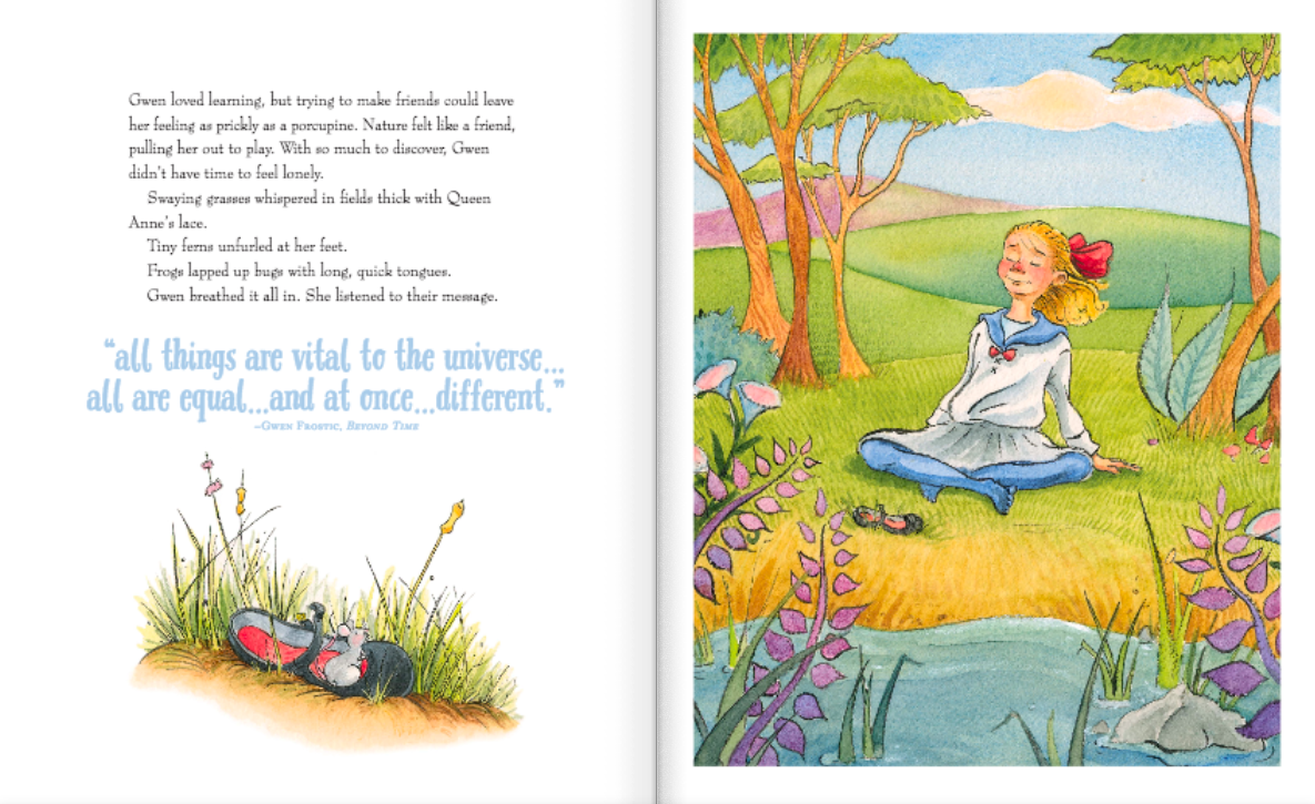 celebrate-picture-books-picture-book-review-nature's-friend-the-gwen-frostic-story-gwen-in-nature