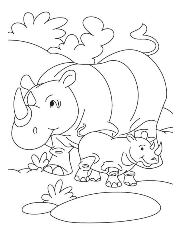 cute animal coloring pages Best of rhino and her baby free animal coloring pages kleurplaat