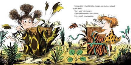 celebrate-picture-books-picture-book-review-cavekid-birthday-unwrapping-gifts