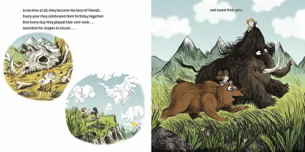 celebrate-picture-books-picture-book-review-cavekid-birthday-unwrapping-caveman-racing-pets