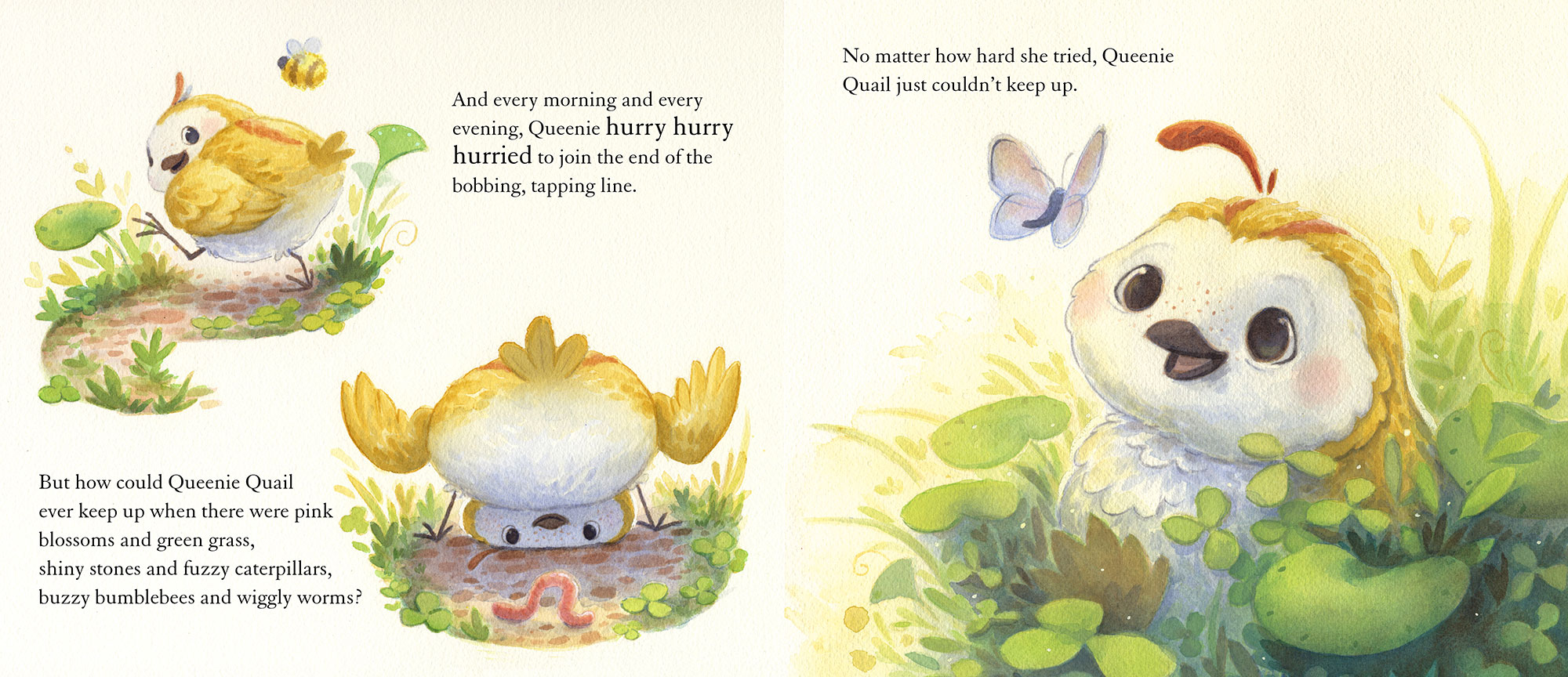 celebrate-picture-books-picture-book-review-queenie-quail-can't-keep-up-bee