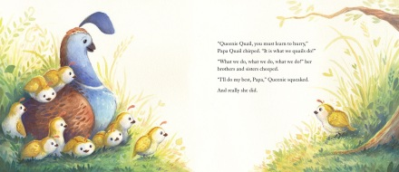 celebrate-picture-books-picture-book-review-queenie-quail-can't-keep-up-hurry