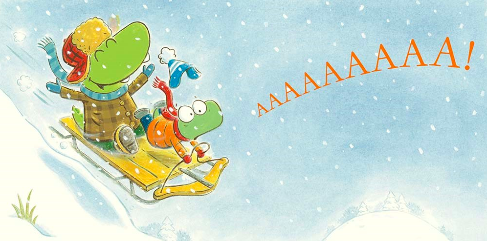 celebrate-picture-books-picture-book-review-croc-and-turtle-snow-fun-sledding