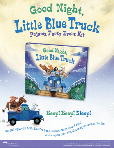 celebrate-picture-books-picture-book-review-Good-Night-Little-Blue-Truck-Pajama-Party-Kit