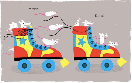 celebrate-picture-books-picture-book-review-one-shoe-two-shoes-knotted-dog-roller-skates