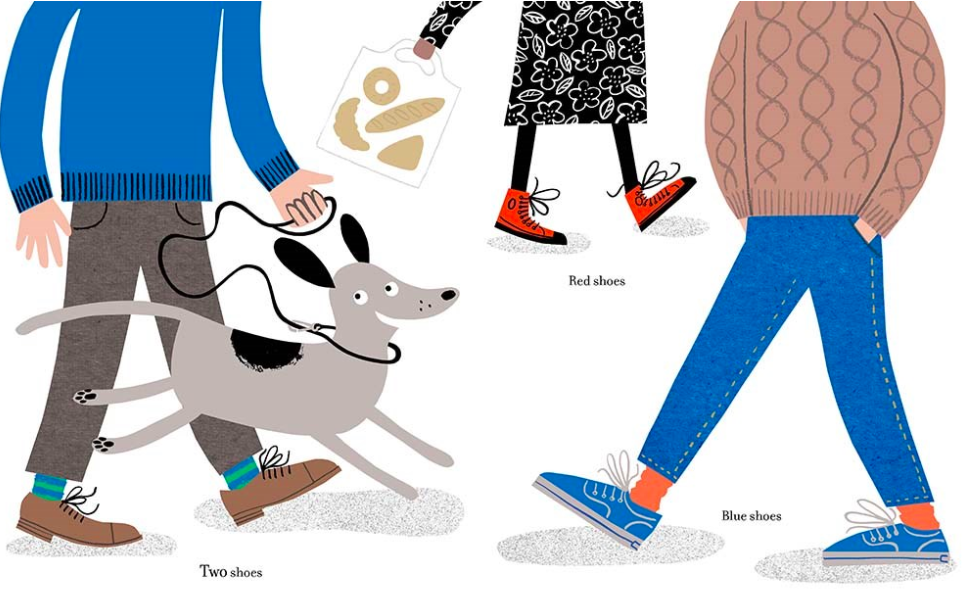 celebrate-picture-books-picture-book-review-one-shoe-two-shoes-knotted-dog-roller-walking