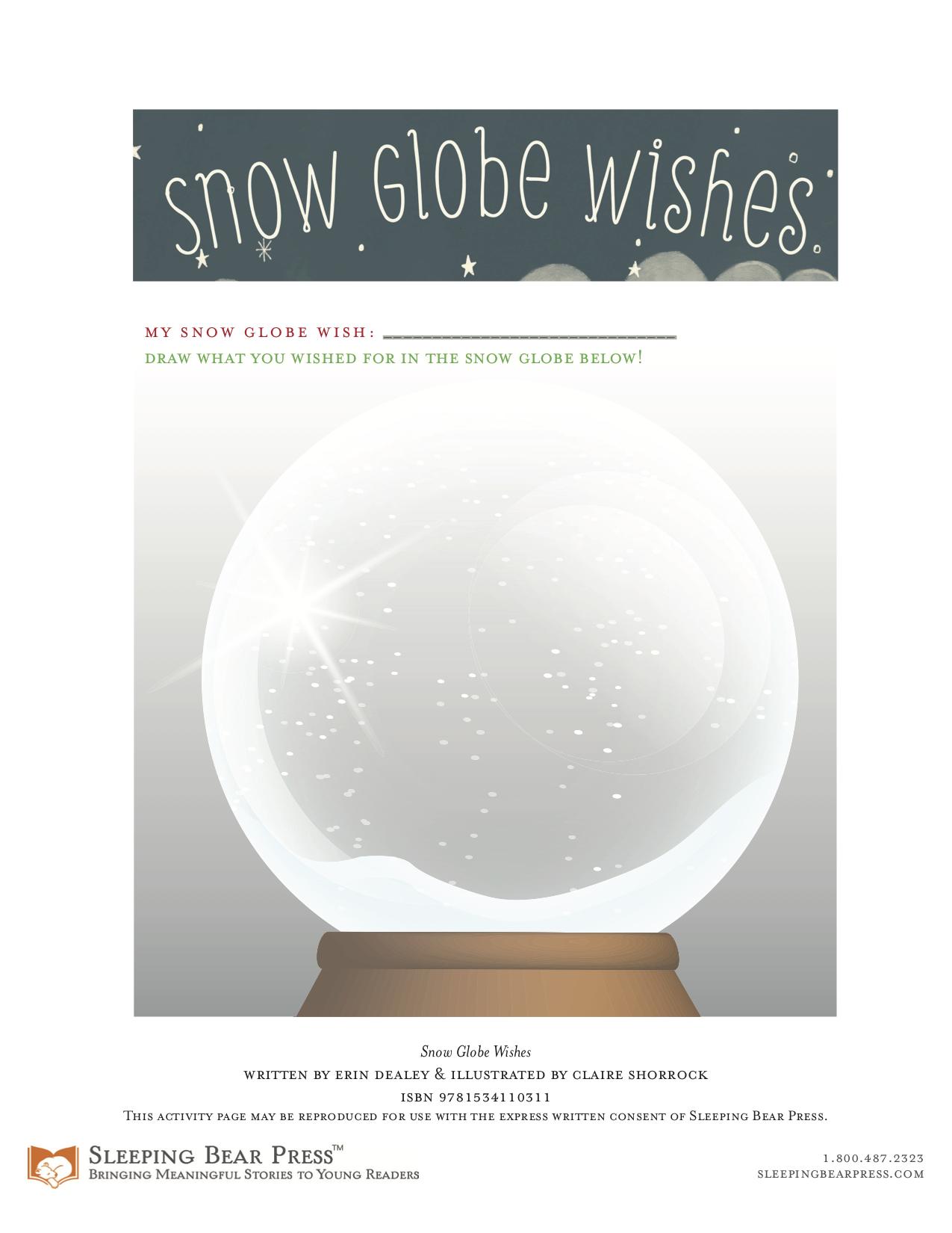 Snow Globe Wishes Activity Sheet from Sleeping Bear Press