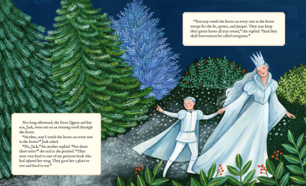 celebrate-picture-books-picture-book-review-why-evergreens-keep-their-leaves-frost-queen